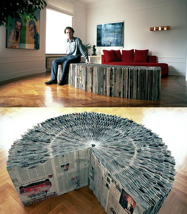 Eine Bank aus Zeitungspapier?