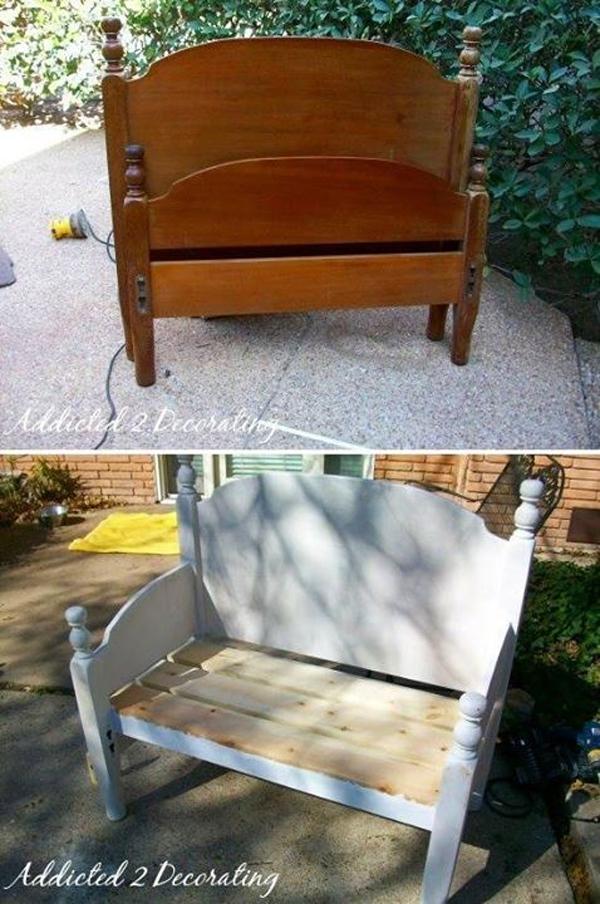 Sitzbank aus einem alten Bett