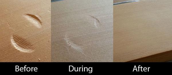Dellen in Holz reparieren