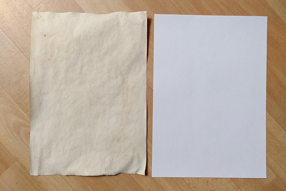 Papier vorher und nachher