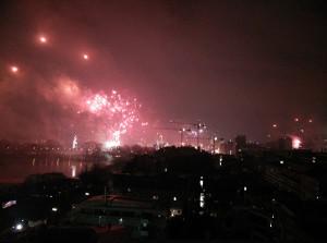 Feuerwerk an Silvester an der Alster in Hamburg