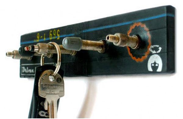 Fahrradschlauch-Schlüsselbrett