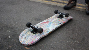 Students turn plastic bags into skateboards