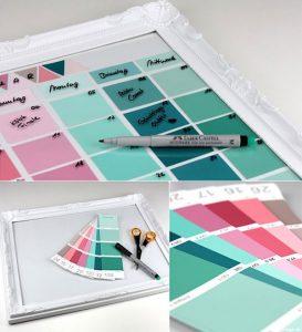 Wiederverwendbarer Kalender aus Farbkarten