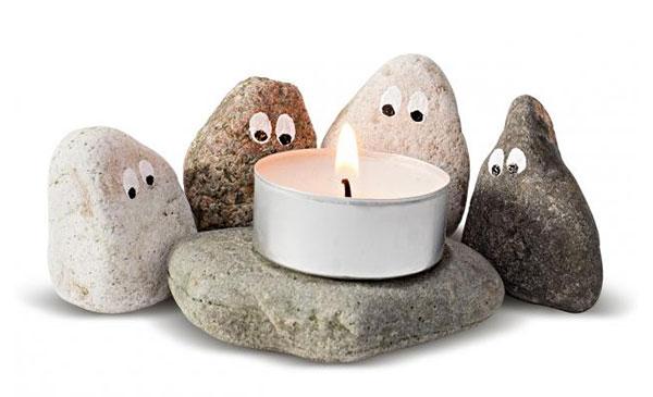 Teelichthalter mit Steinen