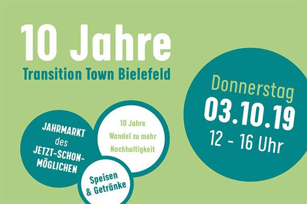 10 Jahre Transition Town Bielefeld - Donnerstag 3.10.2019 von 12 bis 16 Uhr an der Wandelmühle