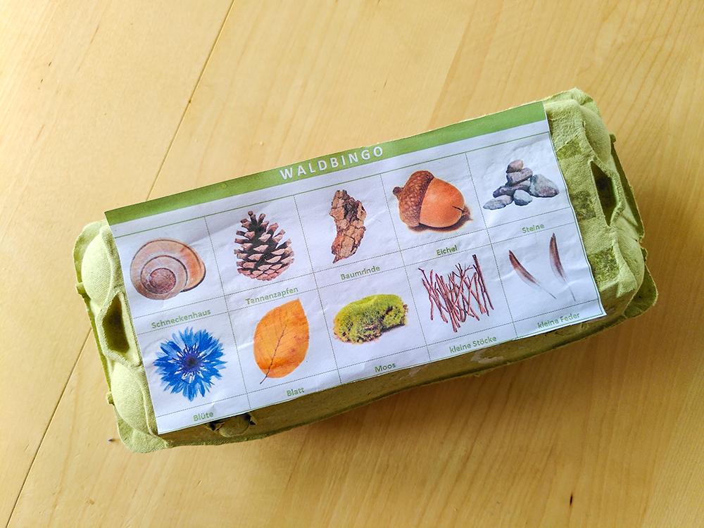 Waldbingo: Eierkarton mit Abbildungen von den zu suchenden Gegenständen