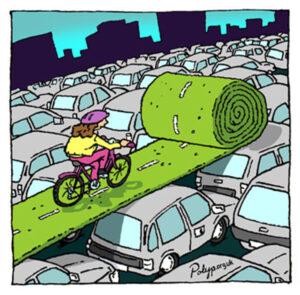 Cartoon: Ein grüner Fahrradweg wird über grauen Autodächern ausgerollt und ein bunter Fahrradfahrer fährt darüber