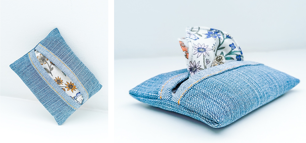 Aus Jeans selbst genähtes Taschentuchtäschchen