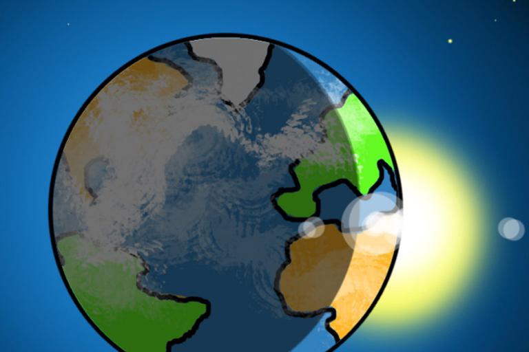 Illustration einer Weltkugel im Weltraum
